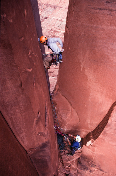 Climbers on the Washerwoman, Canyonlands National Park, Utah