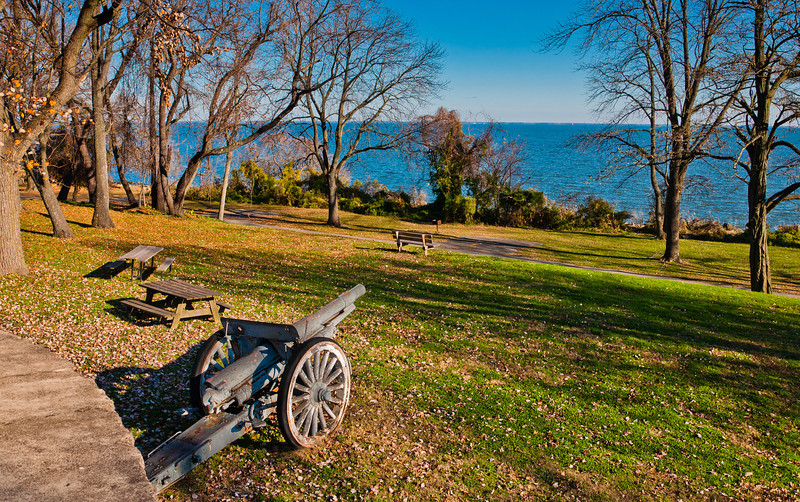 View of Cannon and Chesapeake Bay, Fort Howard Park, Maryland