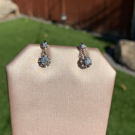 .69ctw Vintage Diamond Double Drop Earrings, French