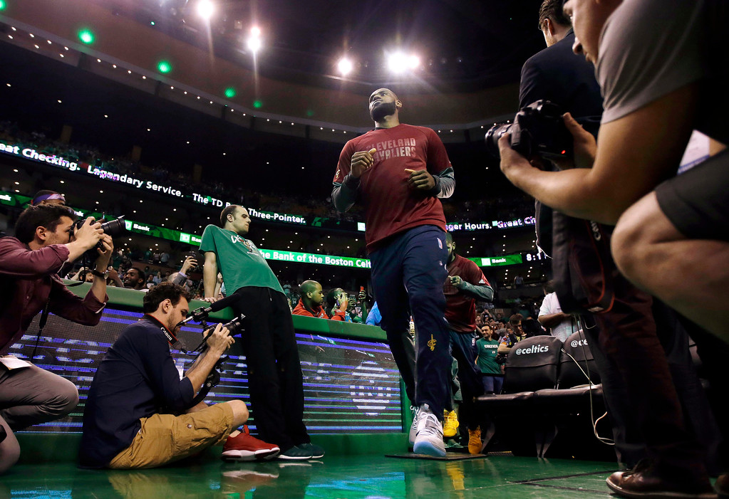. Cleveland Cavaliers forward LeBron James takes the floor for Game 1 of the NBA basketball Eastern Conference finals against the Boston Celtics, Wednesday, May 17, 2017, in Boston. (AP Photo/Charles Krupa)
