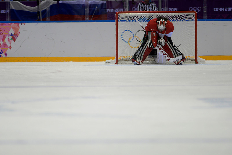 . Shannon Szabados (1) of the Canada reacts to giving up a 1-0 goal to Meghan Duggan (10) of the U.S.A.during the second period of the women\'s gold medal ice hockey game. Sochi 2014 Winter Olympics on Thursday, February 20, 2014 at Bolshoy Ice Arena. (Photo by AAron Ontiveroz/ The Denver Post)