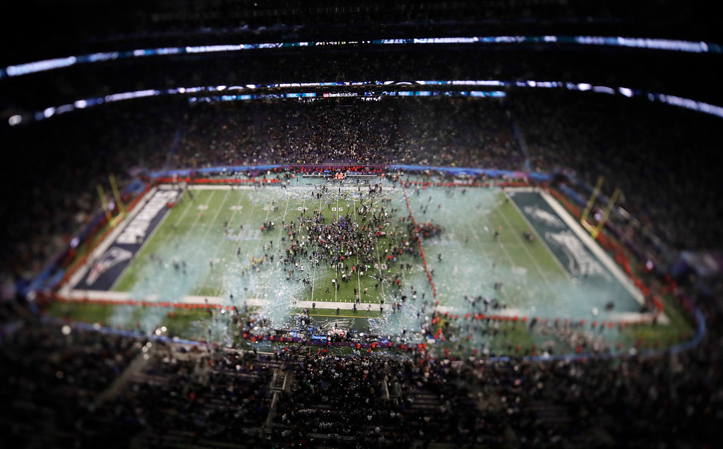. In this picture made with a specialty lens the Philadelphia Eagles celebrate after the NFL Super Bowl 52 football game against the New England Patriots, Sunday, Feb. 4, 2018, in Minneapolis. The Eagles won 41-33. (AP Photo/Morry Gash)