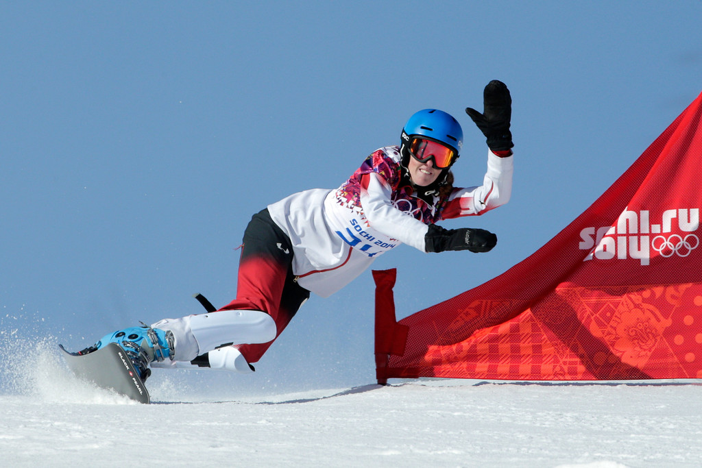 . SOCHI, RUSSIA - FEBRUARY 22:  Marianne Leeson of Canada competes in the Snowboard Ladies\' Parallel Slalom Qualification on day 15 of the 2014 Winter Olympics at Rosa Khutor Extreme Park on February 22, 2014 in Sochi, Russia.  (Photo by Adam Pretty/Getty Images)