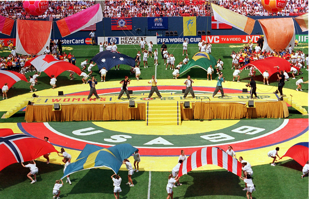 ". The musical group "" \'N Sync\"" performs during opening ceremonies of the Women\'s World Cup Saturday, June 19, 1999, at Giants Stadium in East Rutherford, N.J. (AP Photo/Bill Kostroun)"