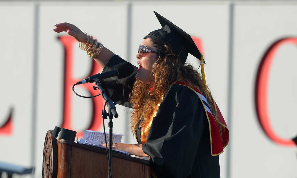 . Long Beach City College\'s class of 2014 receive their certificates and degrees at Veterans Memorial Stadium in Long Beach, CA on Thursday, June 5, 2014. Norrell Thompson delivers her valedictorian address. (Photo by Scott Varley, Daily Breeze)