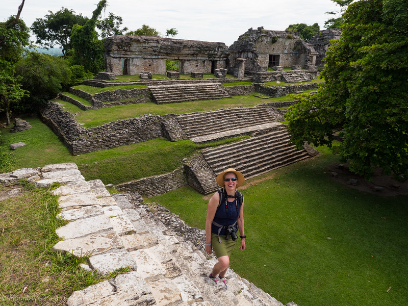 Susan Sayers checking out the temples at Palenque