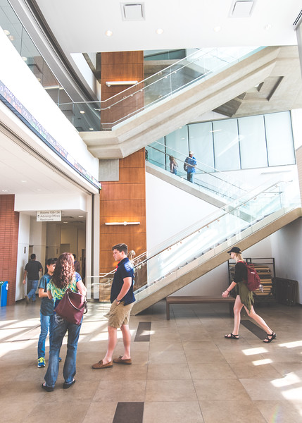 Students make their way through the O'Connor building.