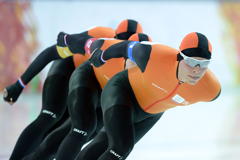 . Netherlands\' Koen Verweij leads his team in the Men\'s Speed Skating Team Pursuit Quarterfinals at the Adler Arena during the Sochi Winter Olympics on February 21, 2014.  (JUNG YEON-JE/AFP/Getty Images)