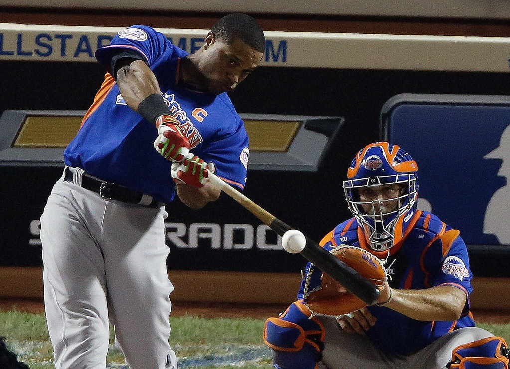 . American League\'s Robinson Cano of the New York Yankees hits a home run during the MLB All-Star baseball Home Run Derby, Monday, July 15, 2013, in New York. (AP Photo/Frank Franklin II)