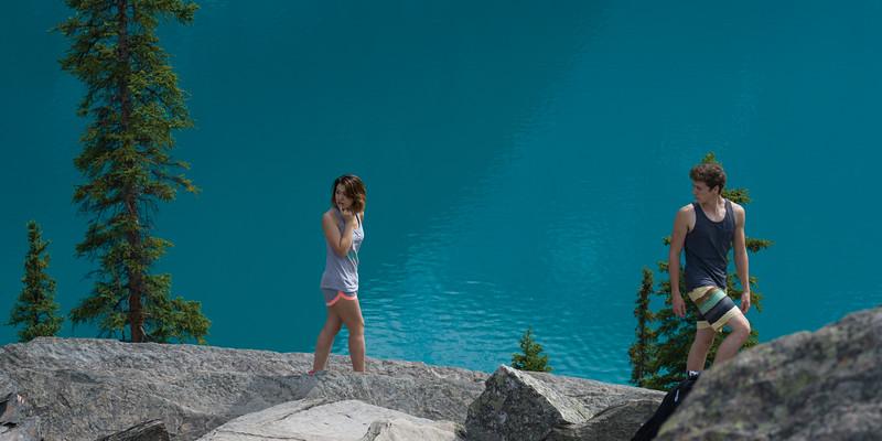 Couple walking at Moraine Lake View Point, Banff National Park, Alberta, Canada