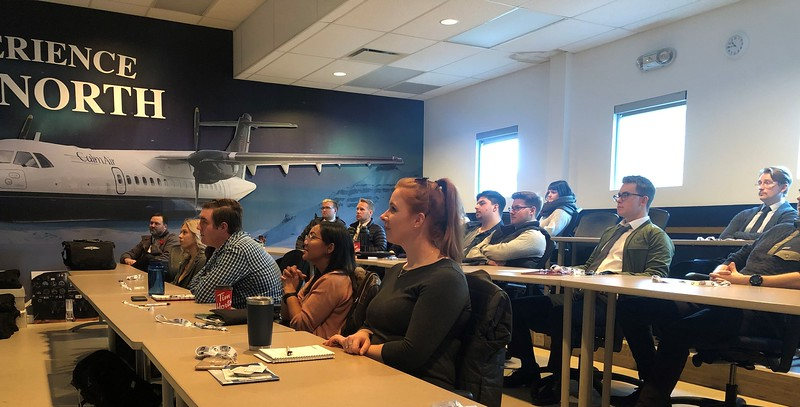 Students in EIC's Life in Flight program attend classes in rooms themed after the company's various air operators. It allows them to become immersed in specific company cultures -- in this case, Calm Air. EIC Photo