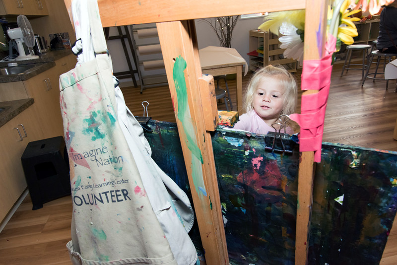 11/12/18  Wesley Bunnell | Staff  Lillian Buzak, age 2, paints during an art class at Image Nation on Monday afternoon.