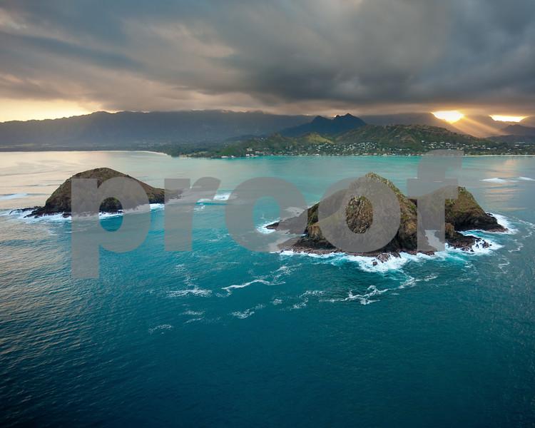 Mokulua Islands off shore Kailua