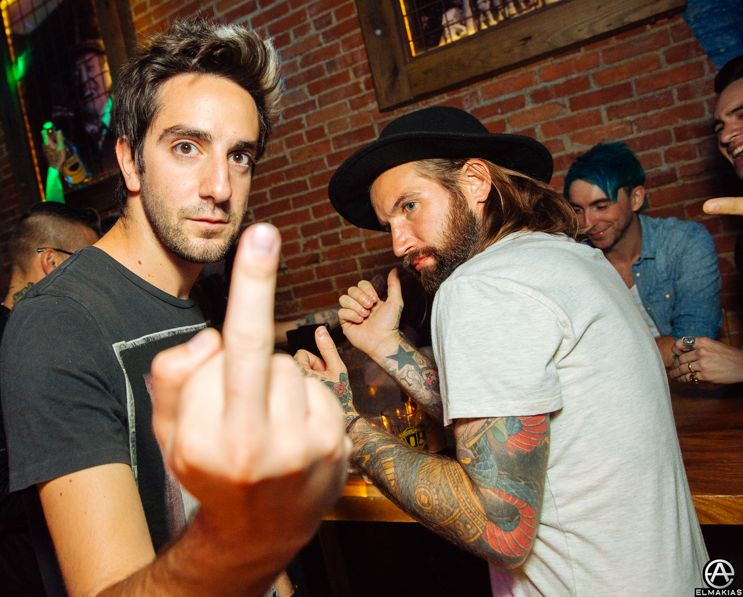 Jack Barakat of All Time Low and Keith Buckley of Every Time I Die at the APMAs 2015 by Adam Elmakias