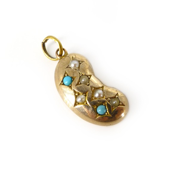 Antique Victorian 9ct Gold Lucky Kidney Bean Pearl & Turquoise Charm