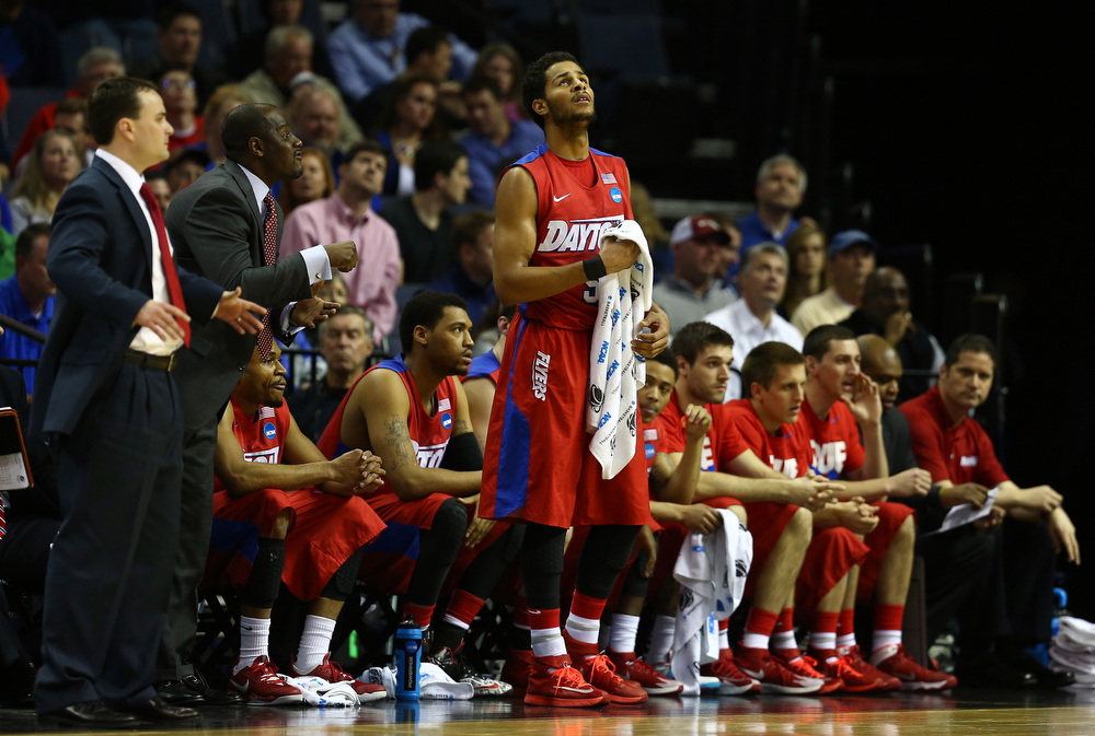 . Devin Oliver #5 of the Dayton Flyers looks on against the Florida Gators  during the south regional final of the 2014 NCAA Men\'s Basketball Tournament at the FedExForum on March 29, 2014 in Memphis, Tennessee.  (Photo by Streeter Lecka/Getty Images)