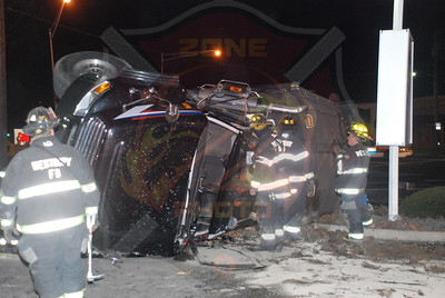 Westbury F.D. MVA w/ Overturned Truck Merchants Concourse and Old Country Rd. 1/13/10