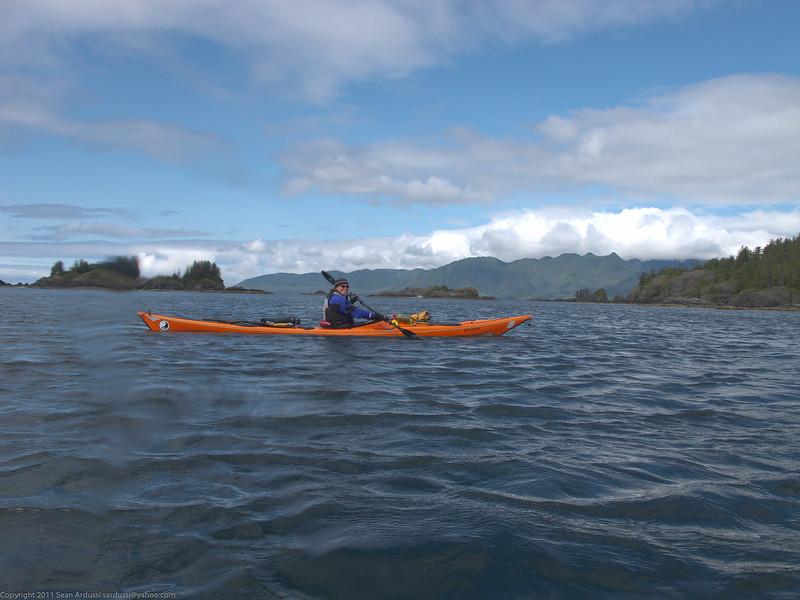 Susan paddling her Tiderace Explore