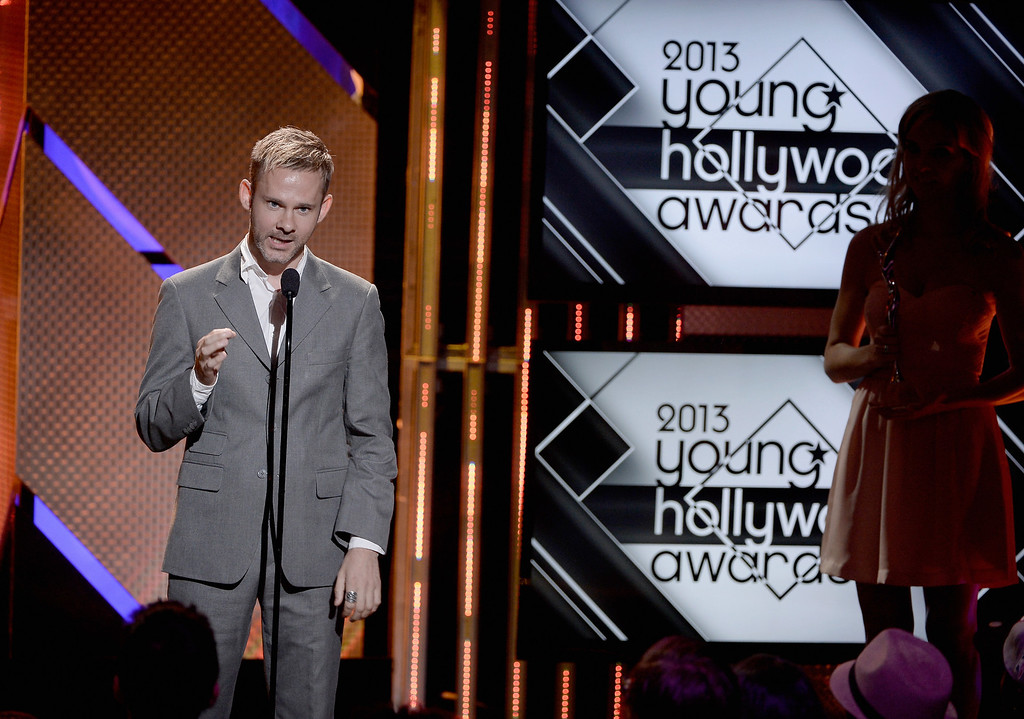 . Actor Dominic Monaghan speaks onstage during CW Network\'s 2013 Young Hollywood Awards presented by Crest 3D White and SodaStream held at The Broad Stage on August 1, 2013 in Santa Monica, California.  (Photo by Kevin Winter/Getty Images for PMC)