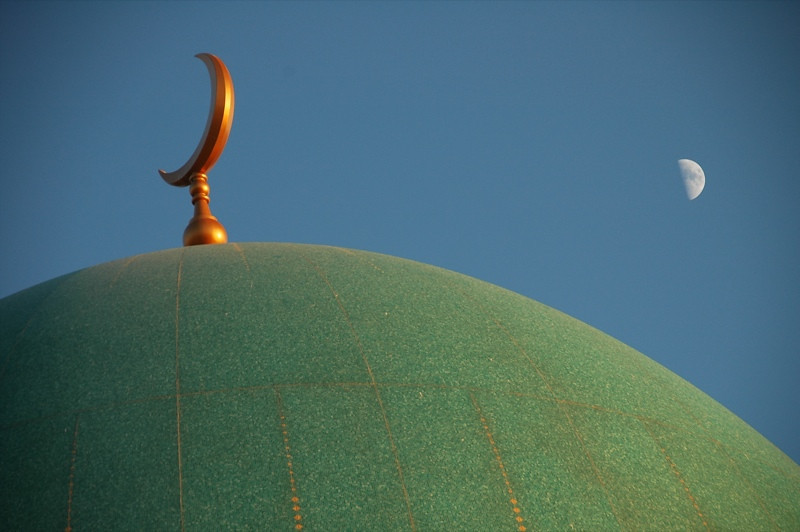 Moon on Top of Saparmyrat Hajii Mosque - Geok-Depe, Turkmenistan