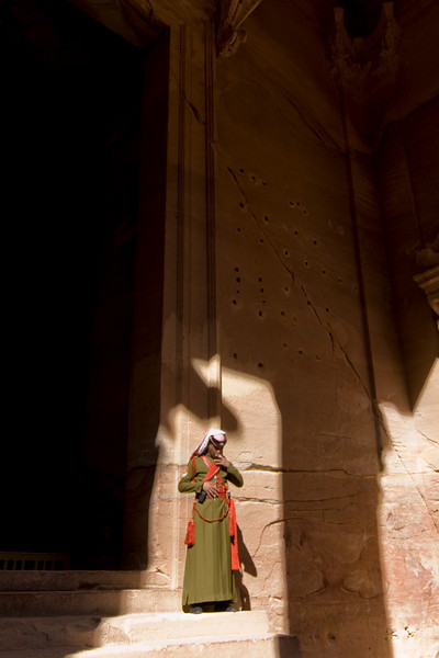 Guard at the Treasury in Petra, Jordan