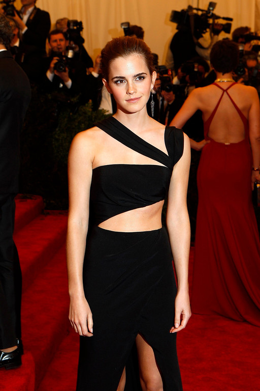 """. Actress Emma Watson arrives at the Metropolitan Museum of Art Costume Institute Benefit celebrating the opening of \""""PUNK: Chaos to Couture\"""" in New York, May 6, 2013. REUTERS/Lucas Jackson"""