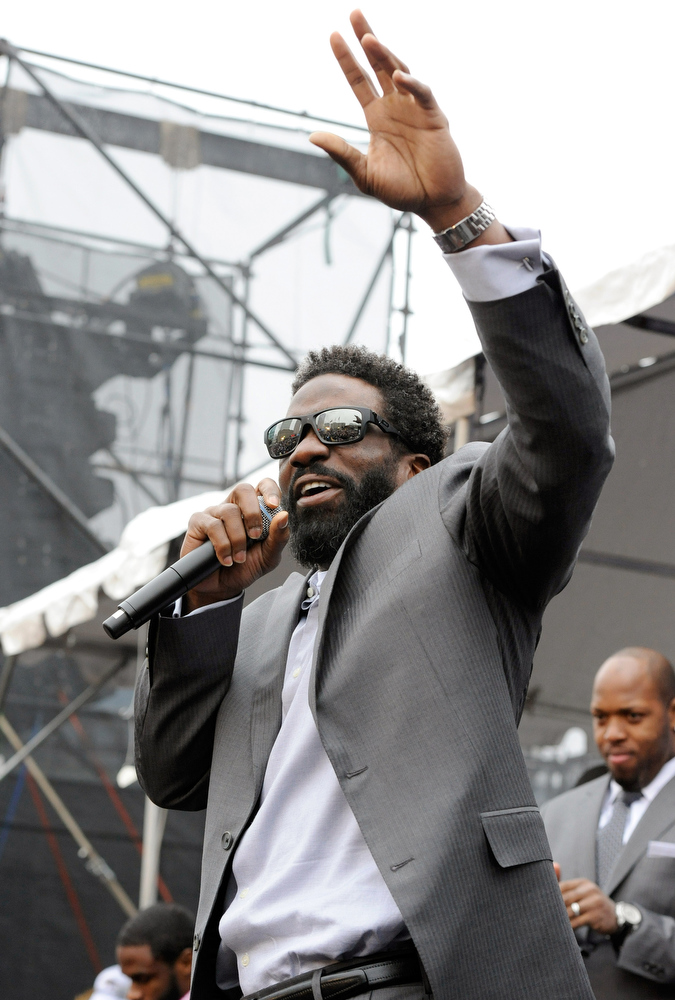 . Baltimore Ravens safety Ed Reed addresses fans at a send-off rally for the team Monday, Jan. 28, 2013 in Baltimore. The NFL football team is leaving for New Orleans to face the San Francisco 49ers in the Super Bowl. (AP Photo/Steve Ruark)