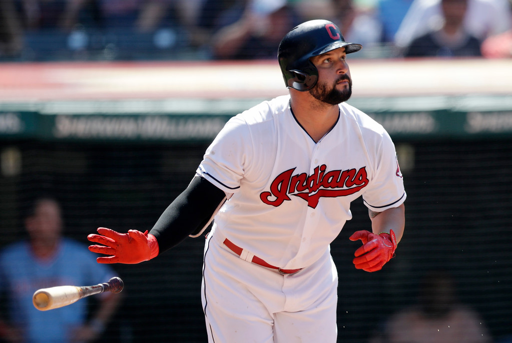 . Cleveland Indians\' Yonder Alonso watches the ball after hitting a two-run home run off Pittsburgh Pirates relief pitcher Felipe Vazquez in the eighth inning of a baseball game, Wednesday, July 25, 2018, in Cleveland. Jose Ramirez scored on the play. The Indians won 4-0. (AP Photo/Tony Dejak)