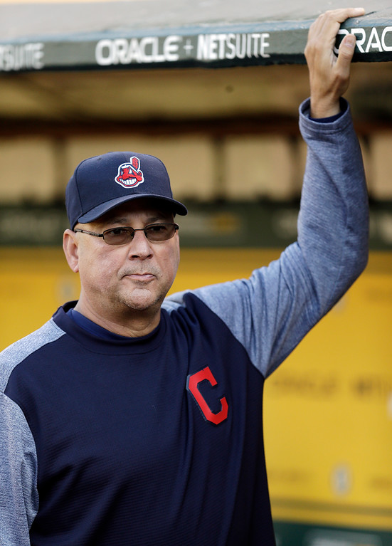 . Cleveland Indians manager Terry Francona waits in the dugout prior to the team\'s baseball game against the Oakland Athletics on Friday, July 14, 2017, in Oakland, Calif. Francona rejoined his team one week after undergoing a minor procedure for an irregular heartbeat. The 58-year-old Francona was supposed to manage the American League during Tuesday\'s All-Star Game but opted out after undergoing a cardiac ablation procedure at the Cleveland Clinic on July 6. (AP Photo/Ben Margot)