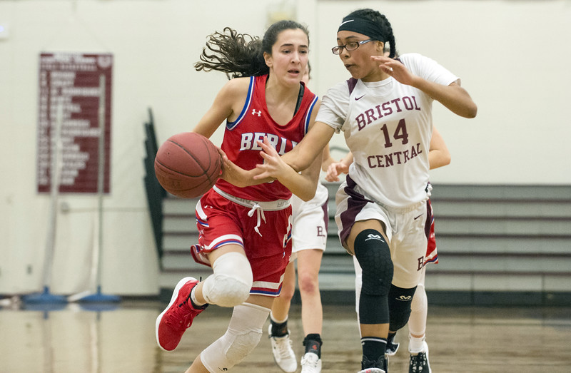 01/10/20  Wesley Bunnell | Staff  The Bristol Central girls basketball team was defeated at home on Friday night by Berlin. Berlin's Alivia Halkias (5) has the ball knocked away by BC's Janessa Bartell (14).