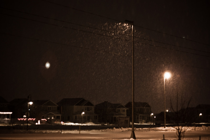 Snow against the lights