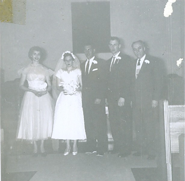 Cleabelle Pearce (about to become Cleabelle Wilson, later Cleabelle Dobbins) and Robert Wilson on their wedding day with two witnesses/friend and another unknown friend or relative.