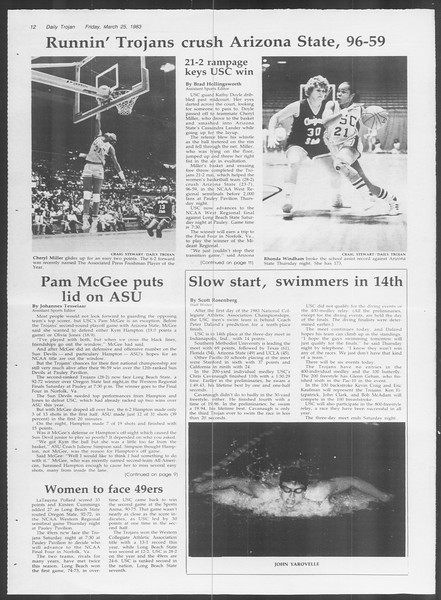 Daily Trojan, Vol. 93, No. 51, March 25, 1983