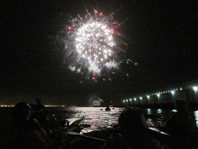 SF Kayak--Fireworks and Bay Bridge: Apr 11, 2014