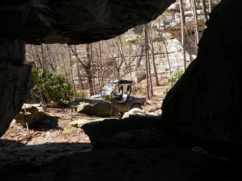 Our Rhino viewed from inside Arch Rock