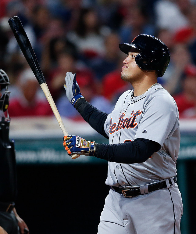 . Detroit Tigers\' Miguel Cabrera reacts to being struck out by Cleveland Indians starting pitcher Corey Kluber during the fourth inning in a baseball game, Tuesday, Sept. 12, 2017, in Cleveland. The Indians won 2-0. (AP Photo/Ron Schwane)