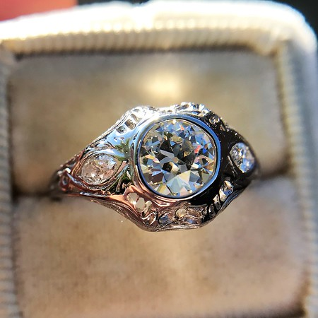 .80ct Vintage Old European Cut Diamond Dome Ring