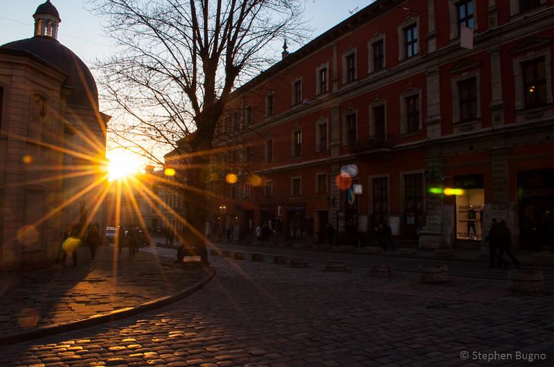 street scenes from Lviv, Ukraine.