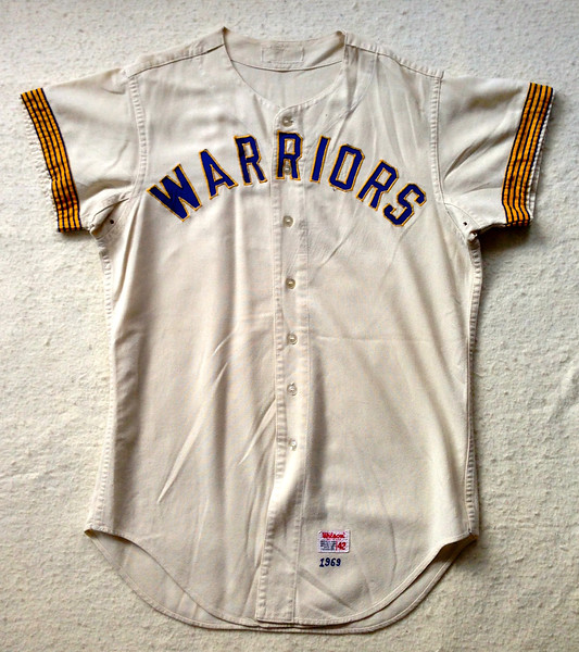 """After its MLB service was ended, this particular jersey went to the Brewers minor league system where it became a Danville Warriors jersey. There is no sign that """"BREWERS"""" was ever sewn on the front of this jersey. This photo was supplied by Sherman, in its pre-restored state."""