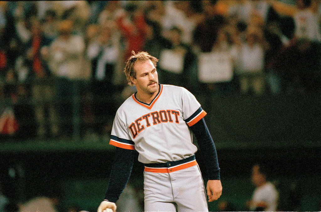 . Detroit Tigers\' Kirk Gibson during the 1984 World Series against the San Diego Padres at Jack Murphy Stadium in San Diego, October 1984. (AP Photo0o