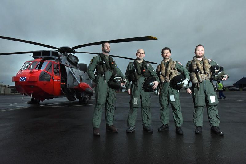HMS Gannet at Prestwick airport L/R Lt Rich Swales, CPO Shaun Knights, Lt Cmdr Martin Lanni, and Meirion Hammond .