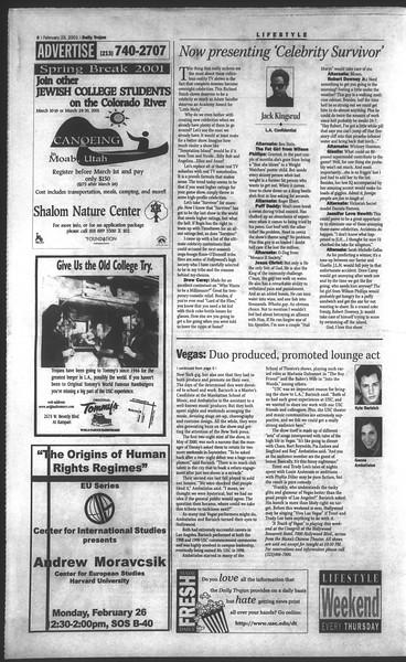 Daily Trojan, Vol. 142, No. 30, February 23, 2001