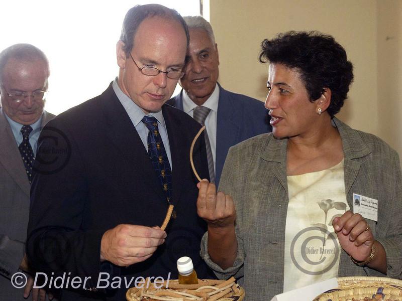 LE 27/10/2002  TIOUT ,PRES DE TAROUDANT.  VISITE DE SAS LE PRINCE ALBERT DE MONACO,DANS UNE COOPERATIVE DE FEMMES FABRICANT DE L'HUILE D'ARGANIER.LES MACHINES DE CETTE COOPERATIVE AYANT ETE FINANCÉES GRACE A LA PRINCIPAUTE DE MONACO ET SES SERVICES DE COOPERATION ETRANGER