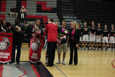 "<b><div align=""center"">Feb 9, 2012 <br>Women's Varsity Basketball <br>vs Heritage <br><font size = ""+1""> <font color = ""red"">Senior Night</font></font></div>"