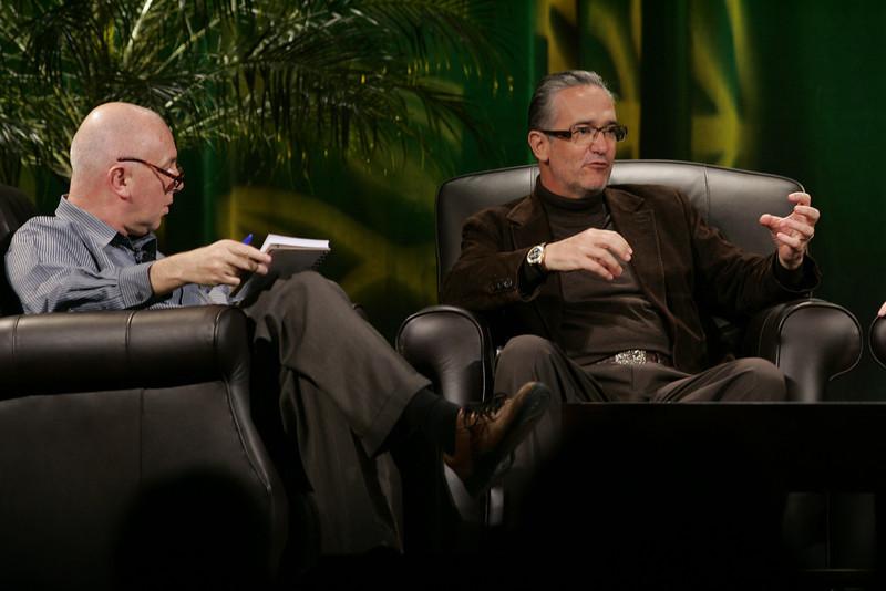 """Hotspots II"": Moderator Steve Evans (L), BBC World Service; and Ricardo Salinas, CEO, Grupo Salinas"