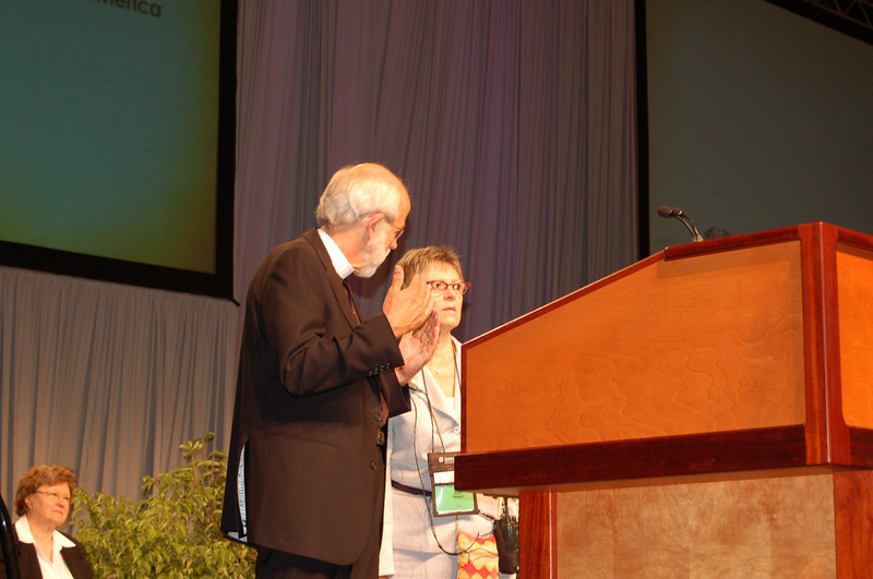 Presiding Bishop Mark S. Hanson with Kristi Bangert, executive director for communication services.