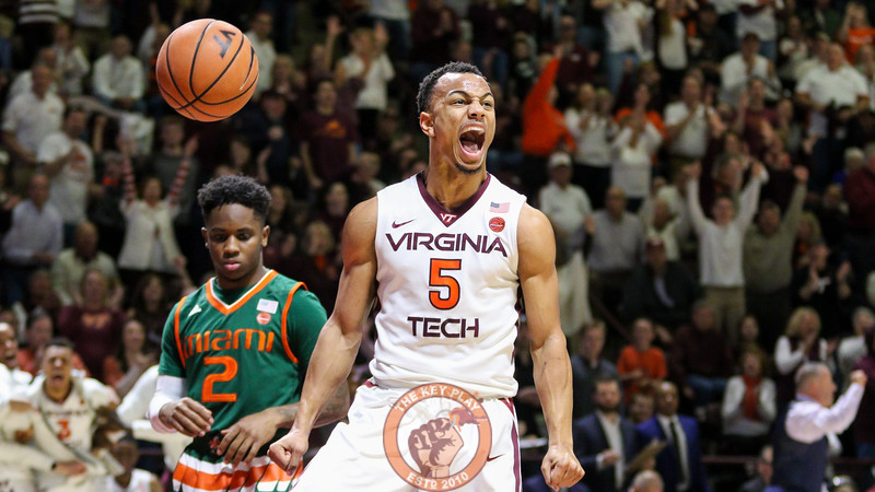Justin Robinson reacts after a slam dunk in the second half to pull the Hokies close to Miami. (Mark Umansky/TheKeyPlay.com)