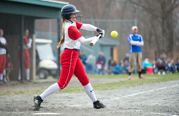 04/12/19 Wesley Bunnell | Staff Berlin softball defeated Platt Tech in an afternoon home game at Sage Park on Friday. Kelsei Zliczewski (14) at bat.