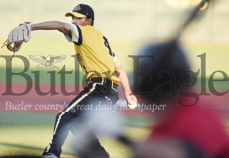 Harold Aughton/Butler Eagle: Jacob Seymour, 4, La Roche, pitcher prepares to deliver a pitch in Tuesday's game at Pullman Park.