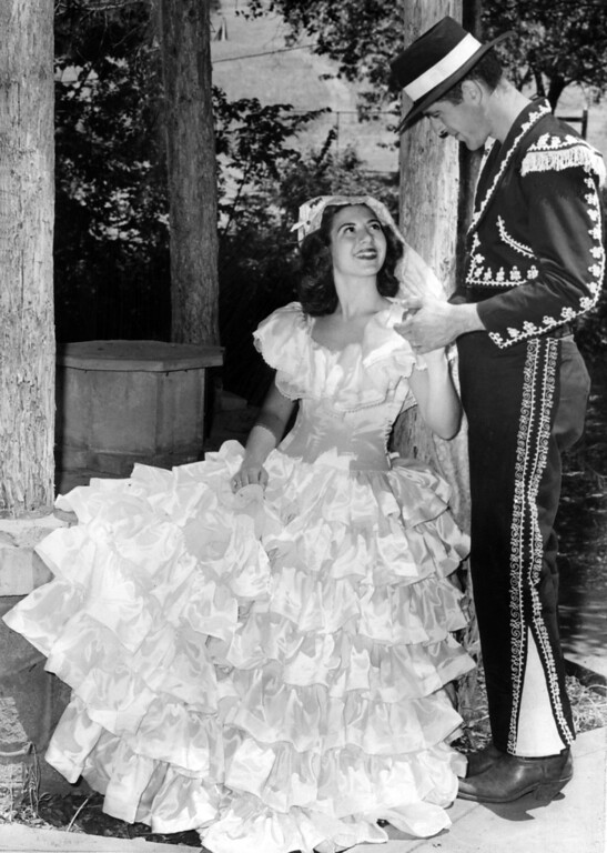 . May 29, 1947 - Mission San Jose held a three day pageant to celebrate their 150th year in 1947. Barbara Livermore, descendant of the founder of the city of that name, and Tom O\'Keefe of Hidden Valley Ranch impersonated her great-great-grandparents. (Oakland Tribune Staff Archives)